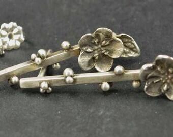 Bar Earrings, Sterling Silver Flower Earrings, Metalsmith Jewelry