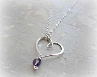 Heart Necklace, Amethyst Pendant, February Birthstone, Sterling Necklace, Teen Jewelry, Delicate Jewelry, Wire Heart Pendant,Sterling Heart