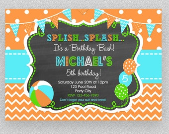 Boys Pool Party Invitation , Children's Pool Party Invitation