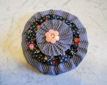 Fabric Flower, Flower Brooch, Flower Hair Clip, in Denim and Navy with Pink Flower Button