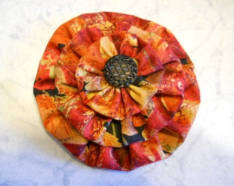 Fabric Flower in Rust Colored Fabric with Black Button, Flower Pin, Flower Brooch, Fashion Accessory, Flower Gift