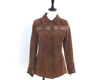 SALE Vintage Hand Painted Flower Brown Suede Shirt Jacket Ladies Size XS/S