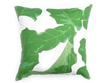 Palm Leaf Pillow Cover - FIG - Green - Off-White - Palm Leaf - Tropcial Leaf - Tropical Pillow - Banana Leaf Pillow