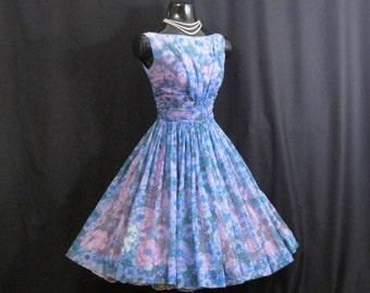 Vintage 1950's 50s Blue Lilac Ruched Impressionist Watercolor Floral Print Chiffon Organza Party Prom Wedding Dress Gown