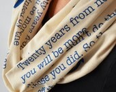 Mark Twain Quote Scarf, Book Scarf, Graduation Gift