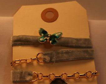 Vintage Blue Butterfly Choker