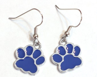 Blue Paw Print Enamel Charm Earrings Wildcats Bears Cubs School Spirit mascot Dog Cat Foot Print tween teens college high school jewelry