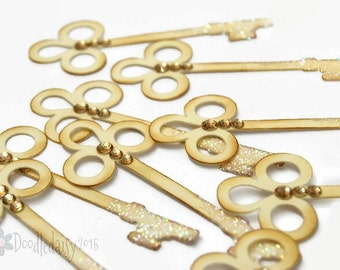 10 Ivory Cream key Embellishments scrapbooking cardmaking wedding