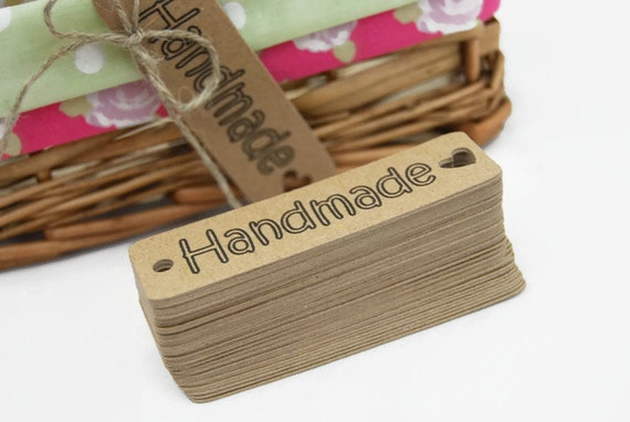X50 39 handmade 39 craft labels sewing knitting tags from for Custom tags for crafts