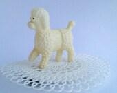 Vintage Plastic Poodle toy.  Vintage Mardi Gras throw.  Vintage plastic doily.  Amazing hair flair.  Burlesque accessory.