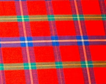 vintage red plaid fabric 8 yards available