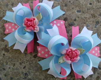Toddler Hair Bow Flower Hair Bow Set Loopy Flower Hair Bow Hair Bow Pair pink and blue hair bows Pigtails hair bows