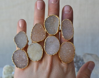DRUZY LOVE /// Stackable Druzy Gold Electroformed Ring /// Sizes