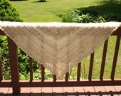 Knit Shawl Wrap Prayer Shawl or Healing Mantle Natural Cream Pearl Color