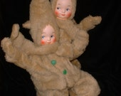 Two Vintage Antique Cloth Baby Dolls 40s 50s Poseable for Display or Collectibles