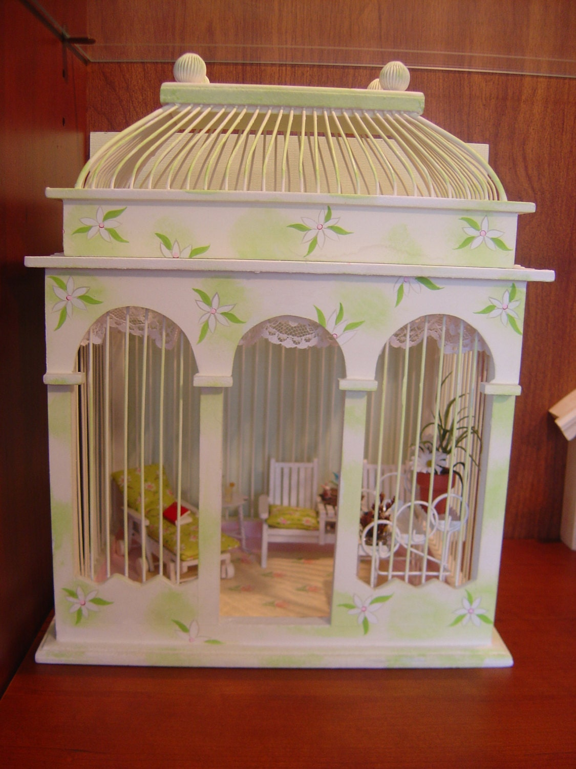 Kitchen Diorama Made Of Cereal Box: Dollhouse Gazebo / Room Box / Diorama Miniature Reading Room