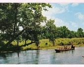 Missouri Ozarks Vintage Postcard - Van Buren Big Spring State Park - Tourists in Long John Boat - Ozarks Souvenir