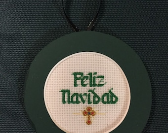 PERSONALIZED Feliz Navidad Cross Stitch Ornament