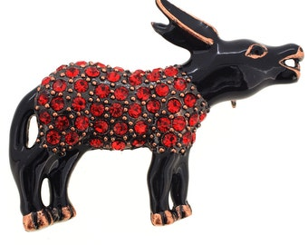 Red Democrat Donkey Crystal Pin Brooch 1002822