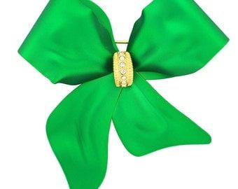 Green Bow Swarovski Crystal Brooch Pin 1011951