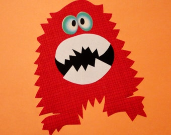 Iron On MONSTER Applique...New...Red Plaid...Glow In The Dark Eyes