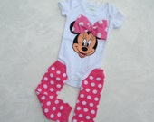 Baby Girl Minnie Mouse One Piece-Bodysuit with Polka Dot Leggings, Short Sleeve 100% cotton in Sizes 0-3 month, 3-6 month, 6-9 month
