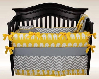 SALE! CARTER 5 piece Baby Bedding Set - Elephants and Chevron Nursery, Gray White and Yellow