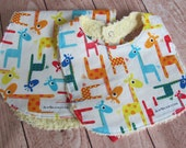 READY TO SHIP - Bib and Burp Cloth Set - Timelss Treasures Giraffe fabric backed with Yellow Cotton Chenille