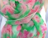 silk scarf extra long chiffon Pink Pastel Azalea unique hand painted wearable art