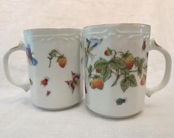 Lenwile Ardalt Artware Porcelain Mugs with Strawberries, Lady Bugs & Butterflies