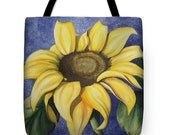 Tote Bag with Sunflower Watercolor Painting- Wearable Art Gifts Floral Flower Yellow Sun Bright Colors Purse Carryall Art Supply Bag