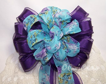 Purple and Blue Floral Print Bow Great for a Spring or Summer Wreath Wedding Pew Bow Wired Ribbon Garden Party or Wedding