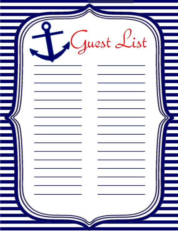 Baby Shower Instant Download Guest List Sign In Sheet, Nautical Navy Blue  Theme Boy Girl, Instant Printable Guest Sign In Sheet BS340  Printable Baby Shower Guest List