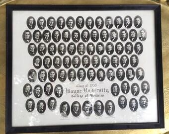 Vintage 1939 Wayne University Class of Medicine Portrait