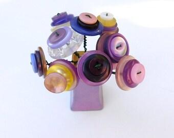 Button Bouquet in a Vintage Purple Lusterware Salt or Pepper shaker Lavendar Purple Posie Home Decor Gift