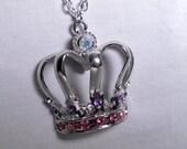 Crown Pendant Necklace Princess Queen Necklace Pink Purple Rhinestones