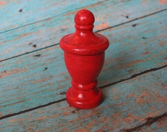 Red Farmhouse Lamp Finial Architectural Pattern Cherry Red Lamp Accent Threaded