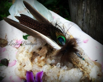 Spiritual Energy Protection & Defense Deer Horn Diamond Gemstone Smudge Fan