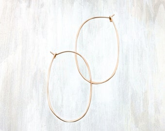 Gold and Rose Gold Oval Hoop Earring
