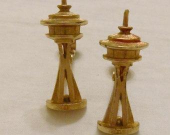 Space Needle clip on earrings