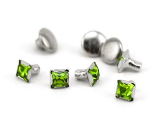 Rivet-Crystal Snap Rivets Square-Peridot 6mm Head Size-You get 5-Impressart-Metal Supply Chick