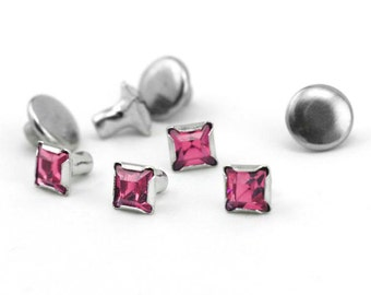 Rivet-Crystal Snap Rivets Square-PinkTourmaline 6mm Head Size-You get 5-Impressart-Metal Supply Chick