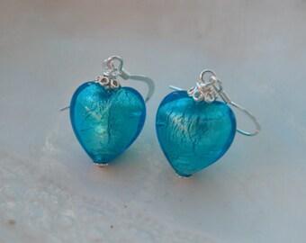 Blue Venetian Murano Glass Earrings - Sale