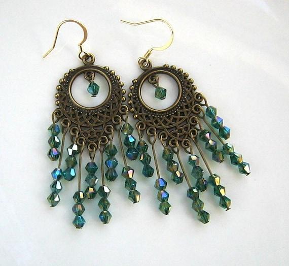 Long Brass and Green Crystal Chandelier Earrings Green