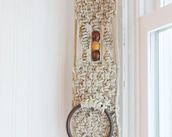 1970s Vintage Macrame Towel Holder with Wood Beads for Bohemian or Retro Home Decor, Cream Brown Tribal Bathroom