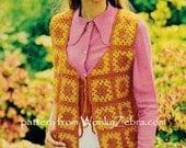 Vintage Crochet Granny Square Waistcoat Pattern PDF 771 from WonkyZebra