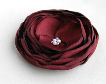 Red Flower Hair Clip, Burgundy Hair Piece, Red Wedding Accessory, Flower For Hair, Bridesmaid, Flower Girl, Flower Hair pin