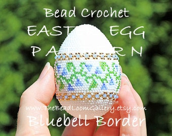 Easter Egg Pattern - Bluebell Border - Crochet PDF File TUTORIAL - Vol.10 with Swarovski Crystals