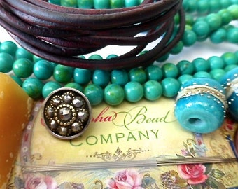 NEW Beading KIT for Maui Three Wrap Leather Bracelet in 6mm Round Green Turquoise Beads and Brown Distressed Leather