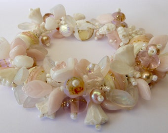 Made To Order   New WEDDING Garden Bracelet KIT  in White and Pale Pink with Artisian Handmade Glass Beads